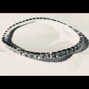 Swarovski 3mm crystal Bangle silver tone